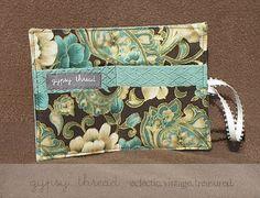 Soft Green Vintage Tea Wallet interior by Gypsy Thread