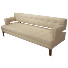 For Sale on - A floating-back tufted linen and Walnut sofa by Thomas Hayes Studio. The sofa has a solid Walnut base and elegantly tapered legs. The cushions have been Sofa Upholstery, Upholstered Sofa, Fabric Sofa, Couch Furniture, Furniture Styles, Grey Leather, Leather Sofa, American Sofa, Loveseat Sofa