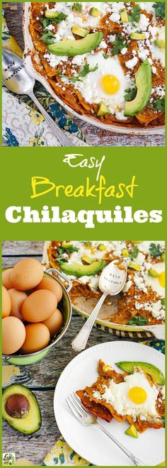 This Easy Breakfast Chilaquiles Recipe also makes a terrific Mexican-style lunch or dinner recipe. This one-pot skillet recipe makes for easy cleanup and is naturally gluten-free. Mexican Breakfast Recipes, Breakfast Dishes, Best Breakfast, Healthy Breakfast Recipes, Brunch Recipes, Mexican Food Recipes, Breakfast Skillet, Breakfast Ideas With Eggs, Breakfast Potluck