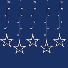 Felices Pascuas Collection Set of 100 LED Clear Star Silhouette Window Curtain Christmas Lights - Clear Wire