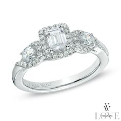 Vera Wang LOVE Collection 1 CT. T.W. Emerald-Cut Diamond Three Stone Engagement Ring in 14K White Gold