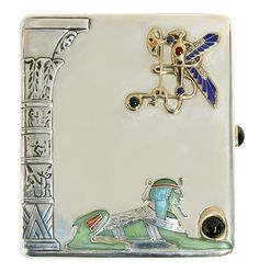 "Russian sterling silver cigarette case with gold and precious stones executed in the Egyptian Revival taste, Moscow, weighing 196.2 grams and measures 3 3/4""l, maker mark, F. Lorie (1896-1908), also bears mark E.C.H. in Cyrillic Egor Cheryatov. Provenance: Property from an important Northern California collector."