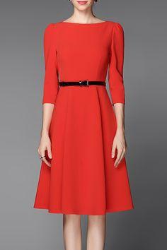 Belted Solid Color Dress