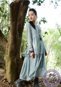 A13Linen dress/maxi dress/flax dress/Mori girl by YourLinen, $59.00