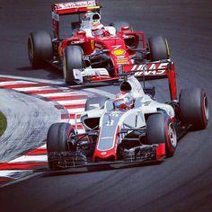 #enlapistadotcom #Repost @f1 @grosjeanromain holding off #KimiRaikkonen before diving into the pits #F1 #Formula1 #HungarianGP #Haas #Ferrari