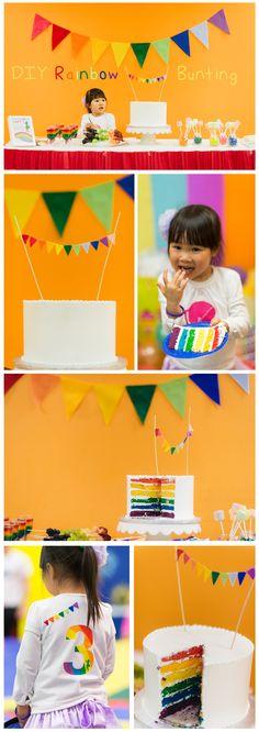 DIY Rainbow Bunting and Rainbow Cake Topper