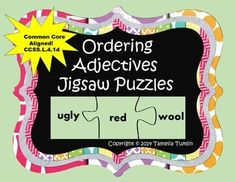 This center activity has 15 different ordering adjectives puzzle sets. Simply print, laminate and cut the puzzle pieces apart. Store in Ziplock bags. Excellent literacy center puzzle or small group activity. Some of the pieces may fit several puzzles depending on how the student orders the adjectives. A student response sheet has been included if you would like the students to write their answers down. There is a column for the students to add a noun to the set of adjectives