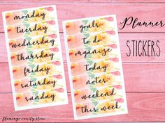Brand new cutted sticker set! Days of the week + various ones as: notes, weekend, goals, today, this week, to do and organize!  This set comes in set of 28, 56 or 112 stickers!
