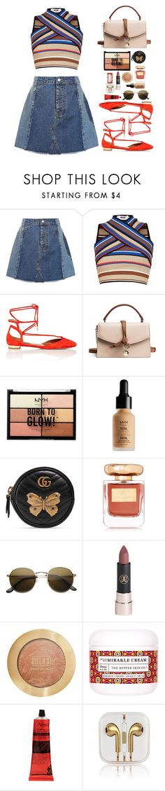 """Trip look book: day 2"" by emmeleialouca ❤ liked on Polyvore featuring Topshop, MSGM, Aquazzura, NYX, Gucci, By Terry, Anastasia Beverly Hills, Milani, The Better Skin Co. and Aesop"