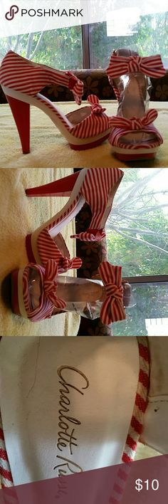 Shoes Red candy strip Charlotte Russe Shoes Heels