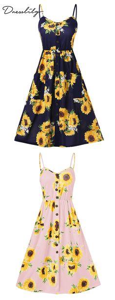 26e60c04c0e Sunflower Print A Line Dress.  dresslily  summerdress Sunflower Print