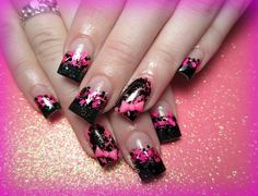 Pink & Black nail polish deisign #repin