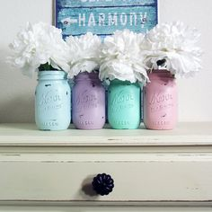 4- Hand Painted Pint Mason Jar Flower Vases-Easter Collection Two-Country Decor-Cottage Chic-Shabby Chic-French Chic on Etsy, $29.30 CAD