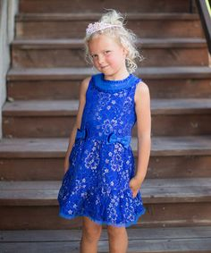 This Blue Bow Lace Dress - Toddler & Girls by Trish Scully Child is perfect! #zulilyfinds
