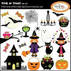 Halloween clip art set featuring the following clip art elements. Commercial use. #Halloween #Halloweenclipart #Halloweengraphics