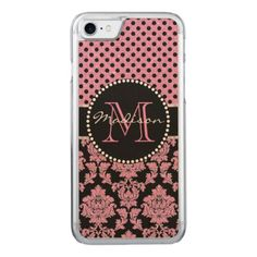 Pink glitter & black damask Pink Black Dots Name Carved iPhone 8/7 Case - glitter gifts personalize gift ideas unique