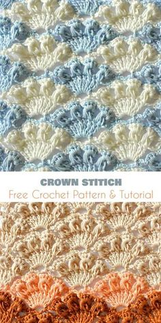 Crown stitch belongs to very attractive and spectacular, visually looks like a never-ending top of the crown, so you can see it thanks to color changing. Link to full article and pattern is below. Crown Stitch – the Free pattern and Tutorial is here. Crochet Stitches Patterns, Crochet Designs, Stitch Patterns, Knitting Patterns, Crocheting Patterns, Knit Stitches, Beau Crochet, Crochet Motif, Crochet Baby