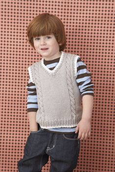 Free Knitting Pattern for a Child's Cable Vest Pattern Baby Boy Knitting, Knitting For Kids, Free Knitting, Crochet Vest Pattern, Knit Crochet, Crochet Baby, Free Pattern, Kids Knitting Patterns, Sweater Patterns