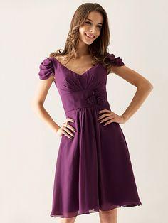 A-line V-neck Knee-length Chiffon Over Elastic Satin Bridesmaid/ Wedding Party Dress | LightInTheBox