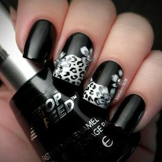 Revlon's 'Black Magic' and 'Spirit'  - black and white nail design