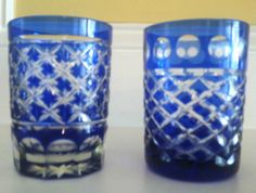 """PAIR OF VINTAGE GLASS BOHEMIAN COBALT BLUE CUT TO CLEAR SMALL TUMBLERS 3 1/8"""""""