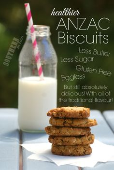 Healthier ANZAC Biscuit Recipe - this Australian Classic cookie gets a healthy makeover with these gluten free ANZAC Biscuits. They are gluten free, low sugar, low fat, eggless/egg free and so delicious!