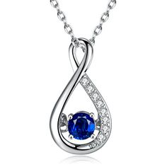 Johareez 0.98 cts Green Sapphire .925 Sterling Silver Rhodium Plated Pendant for Women