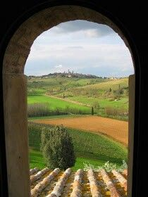 Tuscany Italy - picture outside of arched window
