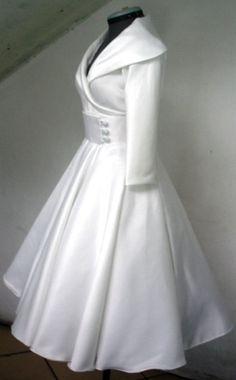 A Most Elegant 50s wedding gown In Ivory Duchess Satin Custom. $285.00, via Etsy.