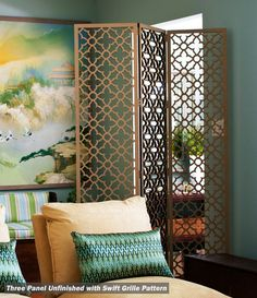 Clever trick--folding screen creates sense of entry