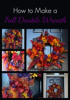How To Make A Fall Double Wreath ~ this easy to follow photo tutorial will have you creating a gorgeous fall wreath for your front door made from a two grapevine wreaths and autumn coloured silk flowers. It makes a gorgeous DIY project!
