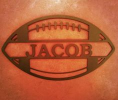 Football with stripes - Sports Themed Personalized name sign - Alabama Metal Art