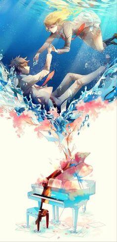 Anime Couples Pixiv Id Shigatsu wa Kimi no Uso, Arima Kousei, Miyazono Kaori Manga Anime, Anime Chibi, Anime Pokemon, Fanarts Anime, Manga Art, Anime Love, Sad Anime, Me Me Me Anime, Anime Triste