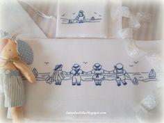 Buona domenica!     Un grazie di cuore a tutte voi   per i vostri meravigliosi messaggi di   auguri per la nascita del nipotino!     E' be... Baby Applique, Baby Embroidery, Cross Stitch Embroidery, Embroidery Patterns, Baby Sheets, Cross Stitch Baby, Heirloom Sewing, Baby Crafts, Baby Accessories