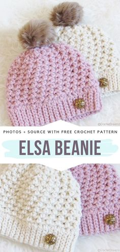 Easy One Skein Beanies Free Crochet Patterns - This is the Elsa Hat. # baby girl crochet hat Easy One Skein Beanies Free Crochet Patterns One Skein Crochet, Chunky Crochet Hat, Crochet Baby Beanie, Baby Girl Crochet, Crochet Dolls, Crochet Hats For Girls, Fall Crochet Hats, Crocheted Hats, Crochet Crafts