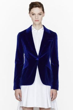ALEXANDER MCQUEEN Royal blue Velvet peplum blazer on shopstyle.com