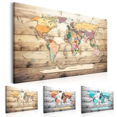 Tableau World Map Colourful Continents - Taille : 40 x 60 x 90 x World Map Wall Art, Wall Maps, Cork Map, Canvas Wall Art, Canvas Prints, Map Projects, Plexiglass, Lighted Canvas, Banksy