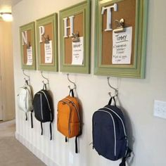 A hook for each child complete with a chore list for whenever they get home. Put a bench under with a drawer for each kid for boots or whatever you'd want extra to go in them!!!