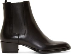 Saint Laurent - Black Leather Wyatt Chelsea Boots