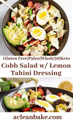 The classic Cobb Salad is now friendly! Topped with irresistibly rich and creamy lemon tahini dressing, this will be your go-to dinner! Best Salad Recipes, Paleo Recipes, Free Recipes, Advocare Recipes, Cleanse Recipes, Dip Recipes, Easy Whole 30 Recipes, Easy Dinner Recipes, Lunch Recipes