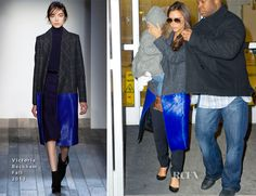 Victoria Beckham wearing Victoria Beckham Tweed and Calf hair Coat in February 3, 2014. #VictoriaBeckham