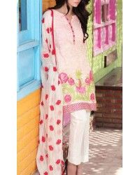 Pink Embroidered Cotton Lawn Dress