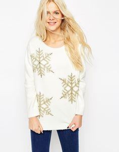White + Gold. ASOS Christmas Jumper With Embellished Snowflake.