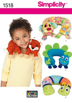 Simplicity 1518 Child's Animal Neck Pillows Sewing Pattern