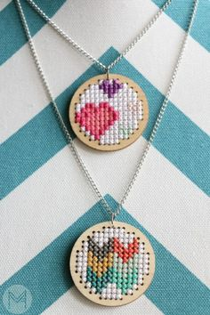 Cross Stitch Pendant Tutorial! Perfect for Spring! www.melaniekham.com