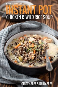 This Instant Pot Chicken and Wild Rice Soup uses coconut milk to keep it dairy-free and gluten-free. It's a great hearty dinner during the fall and winter months. Food Recipes For Dinner, Food Recipes Deserts Healthy Soup Recipes, Real Food Recipes, Chicken Recipes, Turkey Recipes, Delicious Recipes, Diet Recipes, Instant Pot, Chicken Wild Rice Soup, Chicken Curry