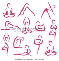 Illustration of big set of yoga, pilates symbols vector art, clipart and stock vectors. Kundalini Yoga, Yoga Meditation, Bikram Yoga, Leonardo Da Vinci Zeichnungen, Illustration Ligne, Yoga Kunst, Pilates Logo, Tattoo Painting, Yoga Drawing