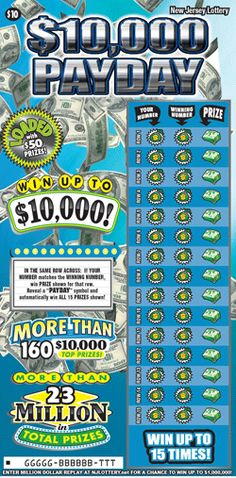 """$10,000 Payday: More Than $23 Million in Prizes. Approximately 3.6 million """"$10,000 Payday"""" tickets are initially planned in this game. Click on the image to learn more about this game, which debuted on August 4, 2014. Lotto Games, Off Game, Scratch Off, How To Plan, Learning, Image, Studying, Teaching, Onderwijs"""