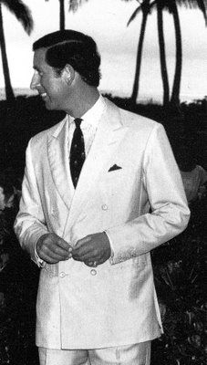 Wales in a white dupioni silk suit.