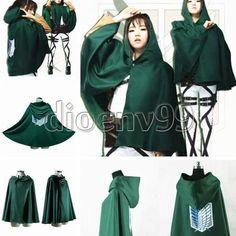 Anime Cosplay Shingeki no Kyojin Cloak Cape Clothe Attack on Titan Costume Party